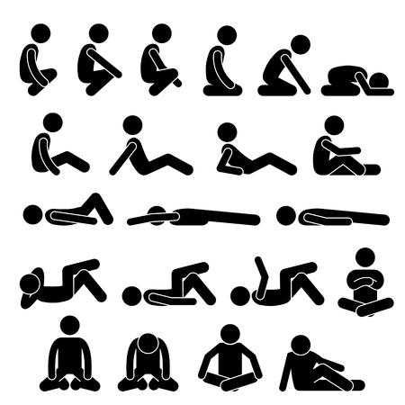Illustration pour Various Squatting Sitting Lying Down on the Floor Postures Positions Human Man People Stick Figure Stickman Pictogram Icons - image libre de droit