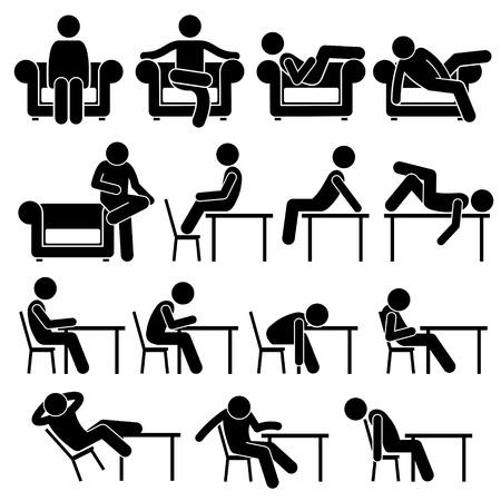Illustration pour Sitting on Sofa Couch Working Chair Lounge Table Poses Postures Human Man People Stick Figure Stickman Pictogram Icons - image libre de droit