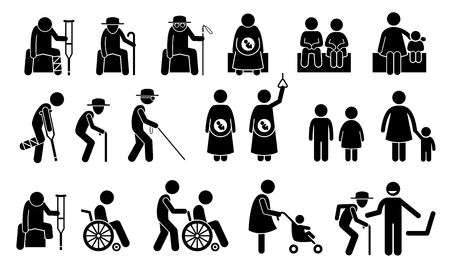 Illustration pour Priority seats for old man, senior citizen, blind man, pregnant woman, children, mother with kid or baby, adult with toddler, handicap, disabled and injured people. Privilege chair for people in need. - image libre de droit