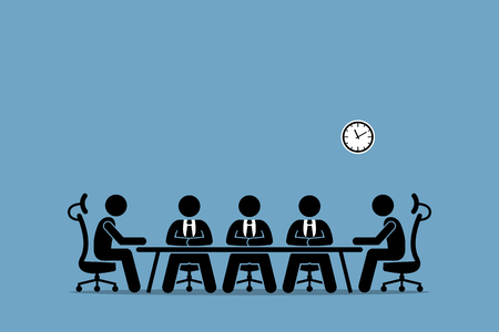 Illustration pour Brainstorming and discussion among businessman. Boardroom meeting with company professional directors and shareholders. - image libre de droit