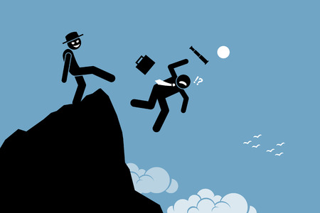 Illustration pour Evil man kicking down his business partner from the top of the hill. Vector artworks depicts betrayal, rivalry, and competition. - image libre de droit