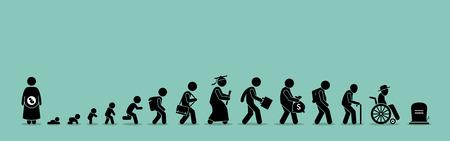 Ilustración de Life cycle and aging process. Person growing up from baby to old age. - Imagen libre de derechos