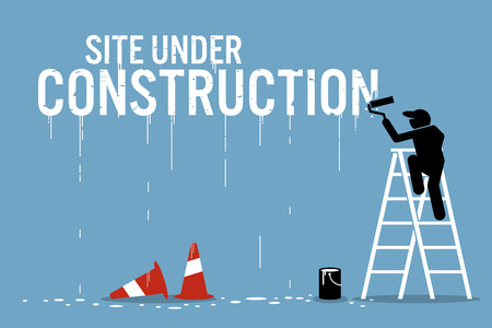 Illustration for Painter painting the word site under construction on a wall. Vector artwork depicts work in progress. - Royalty Free Image