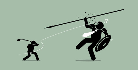 Illustration for David versus Goliath. Vector artwork depicts underdog wins. - Royalty Free Image