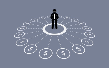 Illustration for Businessman with multiple source of financial income. - Royalty Free Image