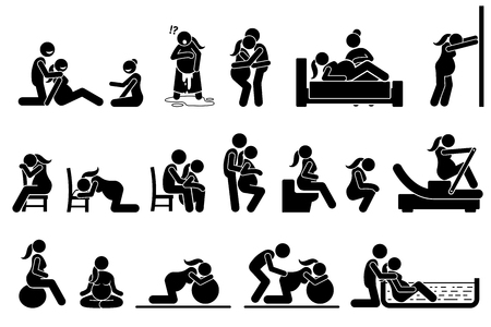 Illustration for Childbirth labor positions and postures at home. Natural birthing class that include yoga, exercise, meditation, and water birth technique. Illustrations in stick figures pictogram. - Royalty Free Image