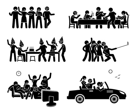 Illustration for Happy Friends Hanging Out Together. Artworks depict a group of friend eating and dining, having a birthday party, taking a group selfie photo, watching TV, and going on a car trip together. - Royalty Free Image