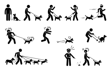 Ilustración de Man Walking Dog. Stick figures depict people walking pet dogs on a leash in various situations. - Imagen libre de derechos