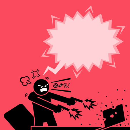 Illustration pour Man shooting at a computer with two guns because he is very angry at the laptop. He destroys the laptop by firing bullets to it. The computer is totally destroyed by the enraged man. - image libre de droit
