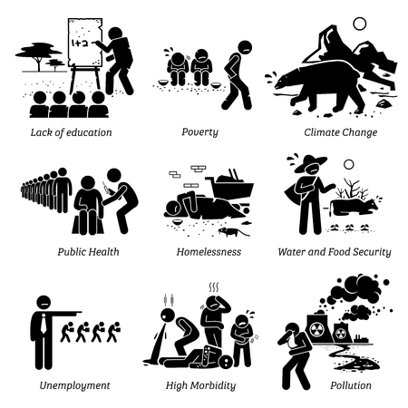 Illustration for Social Issues and Critical Problems Pictogram Icons. Illustrations depicts lack of education, poverty, climate change, public health, water and food security, jobless, high morbidity, and pollution. - Royalty Free Image