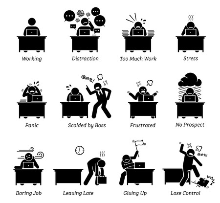Illustration pour Worker working in a very stressful office workplace. The employee is distracted, having too much work, frustrated and scolded by boss. The job is boring, tiring, inefficient and has no prospect. - image libre de droit