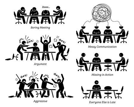 Illustration pour Executives having ineffective and inefficient meeting and discussion. The businessmen have a boring meeting, messy communication, argument, and a fight. Business partner is also late for the meeting. - image libre de droit