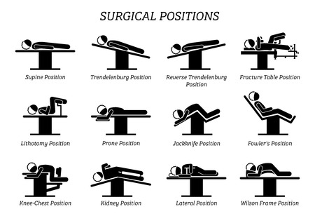 Illustration pour Surgical Surgery Operation Positions. Stick figures depict a set of surgery positions for the patient on the surgery chair and bed. - image libre de droit