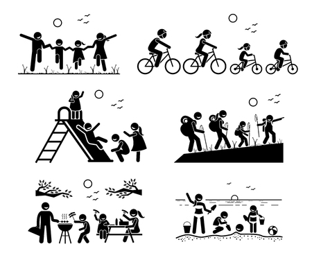 Family outdoor recreational activities. Stick figure pictogram depicts family in the park, riding bicycle together, playing at playground, hiking, outdoor barbecue picnic, and enjoying themselves at beach.