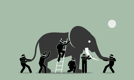 Illustration pour Blind men touching an elephant. Vector artwork illustration depicts the concept of perception, ideas, viewpoint, impression, and opinions of different people in different standpoints. - image libre de droit