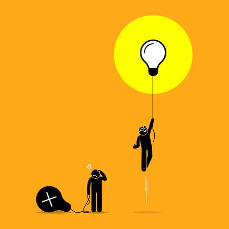 Ilustración de Two person created different ideas but only one is having success, while the other fails. Vector artwork shows the concept of idea success and failure. - Imagen libre de derechos