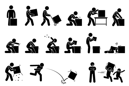 Illustration for Man opening and unboxing a box. Stick figure pictogram depicts a man carrying, cutting, opening, checking, and throwing away the box. Children taking and playing with the unwanted empty box happily. - Royalty Free Image