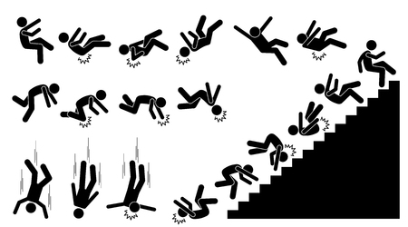 Illustration for Man falling and felling down. Pictogram shows a person fall down and knock on different parts of the body. The injuries are on back, elbow, head, knee, and neck. He also fell down from the staircases. - Royalty Free Image