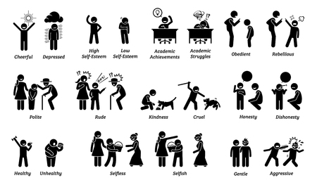 Illustrazione per Child characteristics, attitudes, feelings, and emotions. Illustrations depict the opposite behaviors and emotions of kids and children. - Immagini Royalty Free