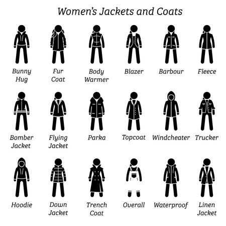 Illustration pour Women jackets and coats. Stick figure pictogram depicts a set of different type of jackets and coats. This fashion clothing designs are wear by woman, females, ladies, and girls. - image libre de droit