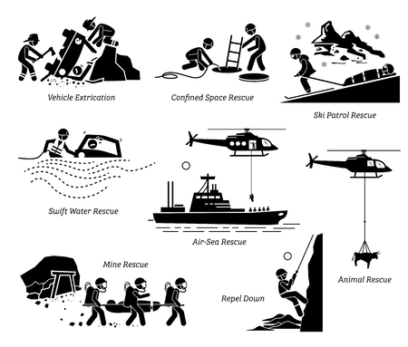 Ilustración de Rescue operations pictograms. Illustrations depict life saving and rescue operation in different places and situations for both human and animal. - Imagen libre de derechos