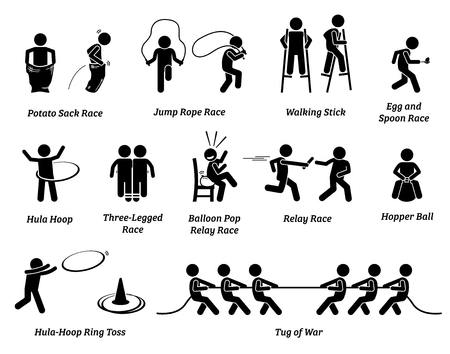 Ilustración de Elementary school children sport games competition. Icons depict various outdoor field events activities for young small kids to play and have fun. - Imagen libre de derechos