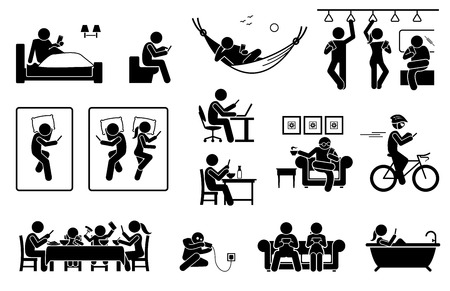 Illustration pour People using phone at different places. Icons depict human with smartphone on bed, toilet, train, sofa, and bathtub. They also use phone during work, meal, resting, cycling and charging battery. - image libre de droit