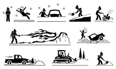 Illustration pour People having problems with snow and ice during winter. Pictogram depicts icons of human removing snows from roof, road, street, and house with snow plow truck, shovel, snow blower, and flamethrower. - image libre de droit