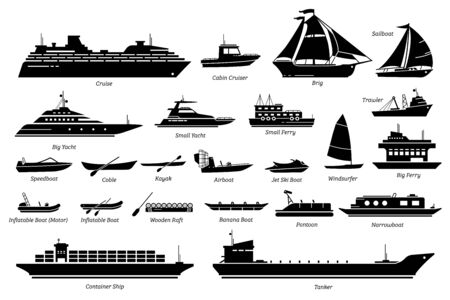 Illustration pour List of different type of water transportation, ships, and boats icon set. - image libre de droit
