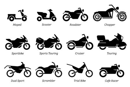 Illustration for List of different type of motorcycle, bike, and motorbike icon set. Side view of all kind of motorcycle - Royalty Free Image