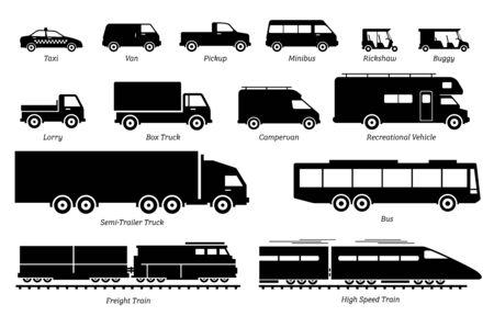 Illustration pour List of commercial landed vehicles transportation icons. Illustrations artwork depict land transport for commercial  work. - image libre de droit