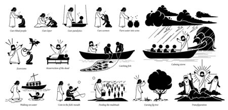 Illustration pour Miracles of Jesus Christ icons pictogram. Stick figure of Jesus Christ curing blind, woman, turning water to wine, exorcism, resurrection, catch fish, walking on water, feeding, and transfiguration. - image libre de droit