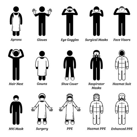 Illustration pour Medical healthcare PPE personal protection equipment gears. Vector artwork of man wearing gloves, eye goggles, face visor shield, hair net, gown,  respirator mask, surgical mask, N95, and hazmat suit. - image libre de droit