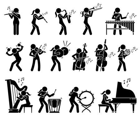 Illustration for Female musician playing music with musical instruments and percussion stick figures icons. Vector illustrations of woman playing trumpet, oboe, saxophone, xylophone, violin, cello, harp, and piano. - Royalty Free Image