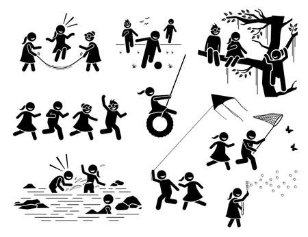 Illustration pour Healthy lifestyle of active children playing outside stick figures icons. Vector illustrations of kids climbing tree, running, catching butterfly, splashing water, playing kite, football, and bubbles. - image libre de droit
