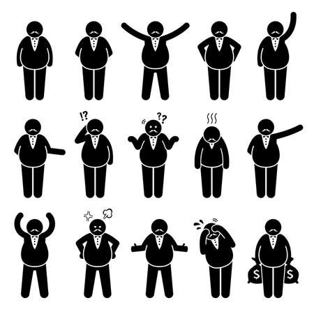Illustration for Fat boss or wealthy employer poses and actions stick figures character icon set. Vector illustrations of a fat rich man with different emotions and reactions. - Royalty Free Image