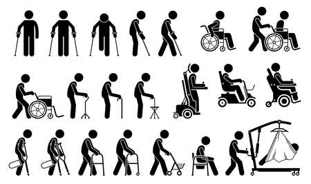 Illustration pour Mobility aids medical tools and equipment stick figure pictogram icons. Artwork signs symbols depicts man walking with crutches, wheelchair, cane, electric wheelchair, power scooter, and walker. - image libre de droit