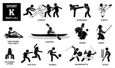 Illustration pour Sport games alphabet K vector icons pictogram. Kabaddi, kickboxing, karate, kart racing, go-kart, kayaking, kemari, kendo, kettlebell lifting, kho kho, kickball, kalaripayattu, and kilikiti. - image libre de droit