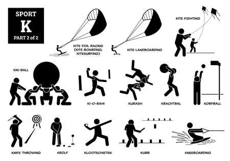 Illustration pour Sport games alphabet K vector icons pictogram. Kite foil racing, kite landboarding, kite fighting, kin-ball, ki-o-rahi, kurash, krachtbal, korfball, knife throwing, krolf, kubb, and kneeboarding. - image libre de droit