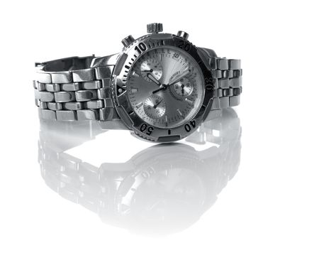 used silver watch isolated over a white backgtound
