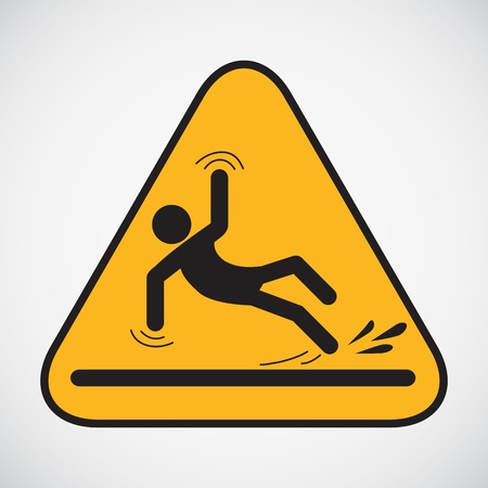 Wet floor caution sign  Vector illustration