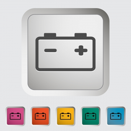 Car battery  Single icon  Vector illustration
