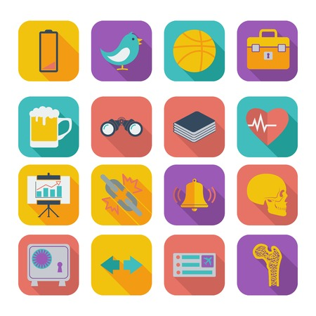 Color flat icons for Web Design and Mobile Applications illustration.
