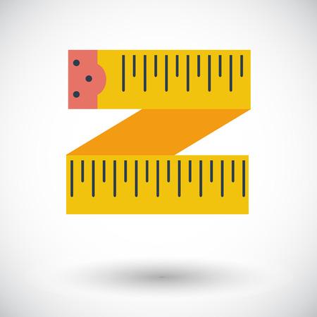 Centimeter tape flat icon on white background