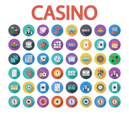 Casino icons set. Flat vector related icon set whit long shadow for web and mobile applications. It can be used as, pictogram, icon, infographic element. Vector Illustration.