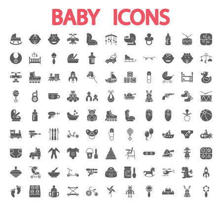 Photo pour Baby icons set. Flat vector related icon set for web and mobile applications. - image libre de droit
