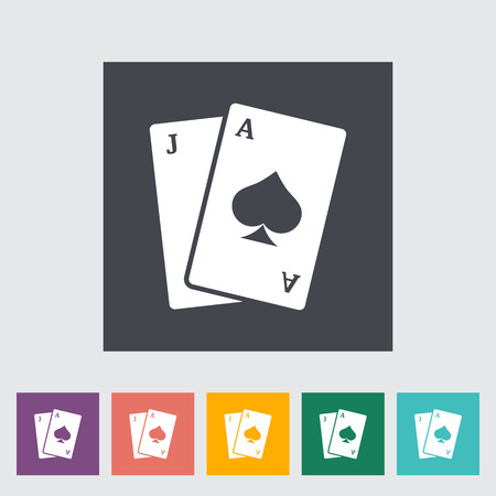 Blackjack. Single flat icon on the button. Vector illustration.