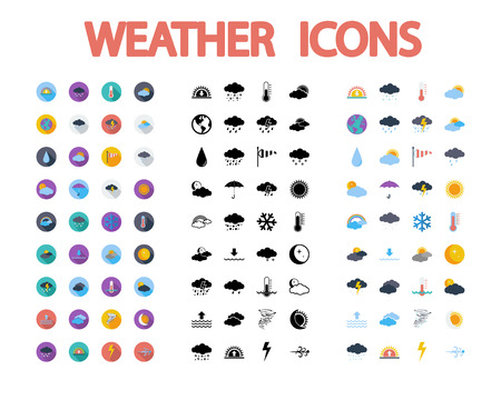 Weather icons set. Flat vector related  different styles icons set for web and mobile applications. It can be used as - pictogram, icon, infographic element. Vector Illustration.のイラスト素材