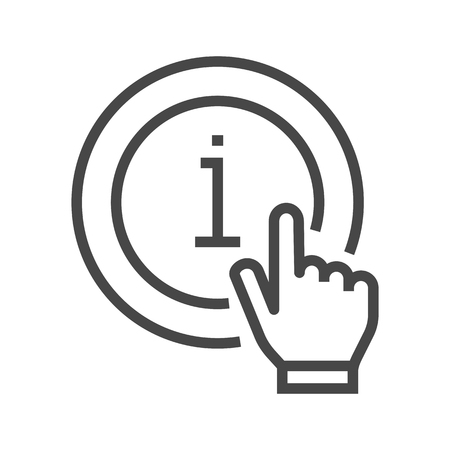Information Mark with Hand Thin Line Vector Icon. Flat icon isolated on the white background. Editable EPS file. Vector illustration.