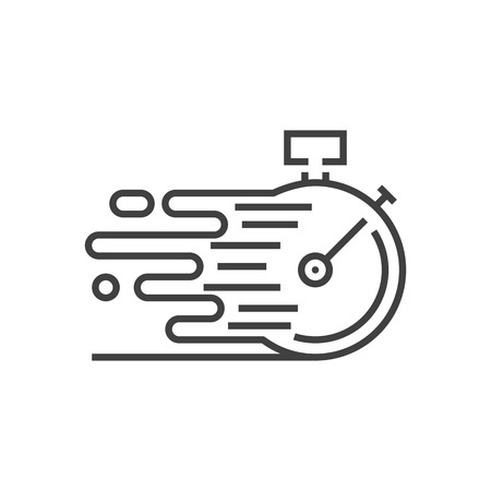 Illustration pour Fast Service Icon. Fast time delivery. Stopwatch in Motion, Deadline Concept, Clock Speed. Thin Line Vector Illustration. Adjust stroke weight - Expand to any Size - Easy Change Colour - image libre de droit